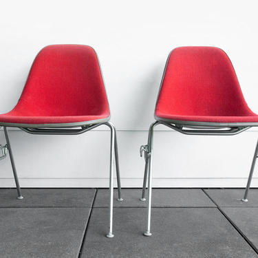 Vintage Eames pair of chairs ~ Upholstered Eames chair ~ Eames DSS shell chairs ~ 1970's Eames chairs ~ Charles & Ray Eames Shell Chairs by GoodWilson