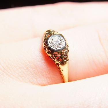 Vintage Art Deco 14K Gold Filigree Diamond Ring, Dazzling .25 CT Brilliant Cut Diamond, Antique Engagement Ring, 585 Yellow Gold, Size 8 US by shopGoodsVintage