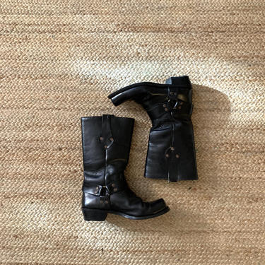 vintage black biker boots // leather moto boots // size 10 boots by HarlowsVintage