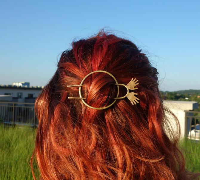 Bun Pin Hair Slide Hair Pin Brass Hair Piece - Jazz Hands - Kooky sculptural hair accessory by RachelPfefferDesigns