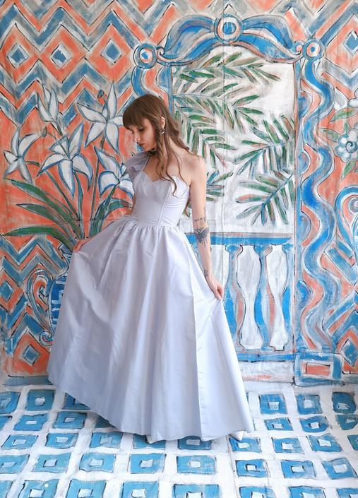 Vintage 80s Blue One Shoulder Gunne Sax Gown/ 1980s Strapless Full Skirt Dress/ Size Small by bottleofbread