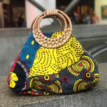 Prisca 'Boho' rattan African bag, patches bag, 100% cotton, African prints, patches ankara bag by PriscArts