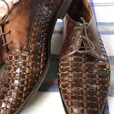 90's Sesto Meucci brown woven leather Italian lace up shoes~ women's size 9-10. Plus size vintage~ beautiful classic 1990's design oxfords by HattiesVintagePDX