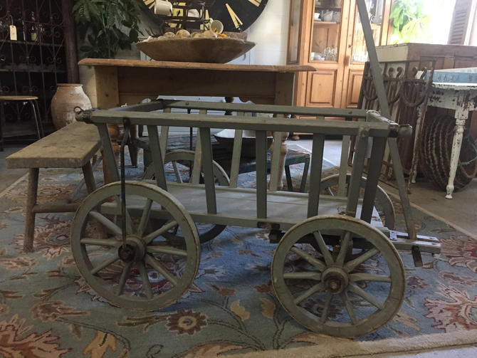 Antique German Potato Wagon Goat Cart Pale Blue In Color