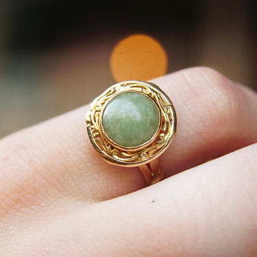 Vintage 14K Gold Jade Ring, Yellow Gold & Green Jade, Ornate Gold Setting, Marbled Gemstone, Size 7 3/4 US by shopGoodsVintage