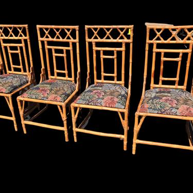 FOUR vintage bamboo chairs - great details by HolbrookBazaar