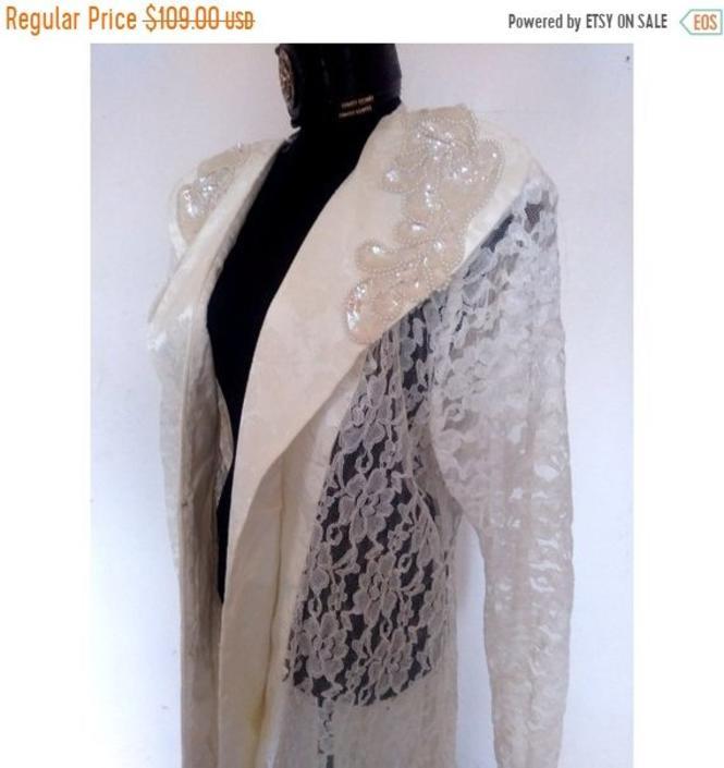 SALE PLUS SIZE Vintage white lace duster jacket, white ...