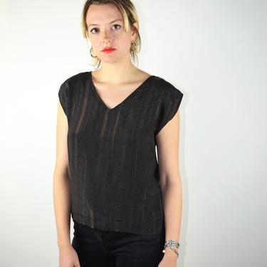 Vintage 80s Black Gold Metallic Shirt / Vintage 1980s Striped Top / Sleeveless Top by ErraticStaticVintage