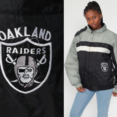 Oakland Raiders Jacket Hooded Pro Player Football NFL Jacket HOODIE Jacket 90s Streetwear Coat Hood Vintage Black Warm Men's Extra Large xl by ShopExile