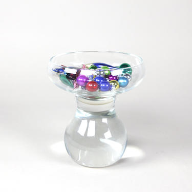 """Elevated clear glass bowl with optic base by Jason Bauer 2017 collection """"Augment"""" series by OmasaProjects"""