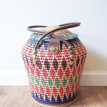 Colorful Woven 1950's Basket with Faux Leather handles and Metal Hardware by PortlandRevibe