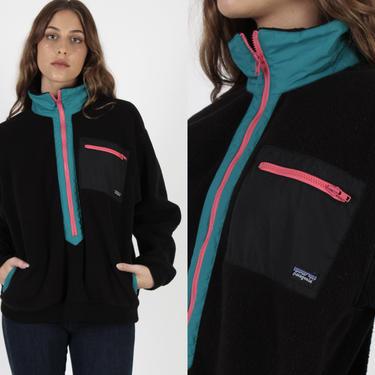 90s Neon Patagonia Fleece Jacket / Vintage Made In USA Retro Snow Jacket / 1990s Black Pink Zip Up Womens Ski Patrol Coat by americanarchive