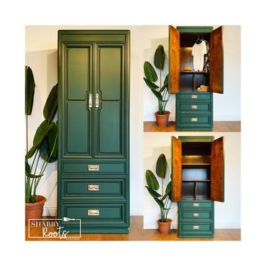 NEW! Emerald Green Armoire wardrobe closet vintage Mid Century Modern campaign style tall dresser San Francisco CA by ShabbyRootsBoutique