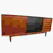 Arne Vodder Danish Teak Sideboard w/ Reversible Sliding Doors