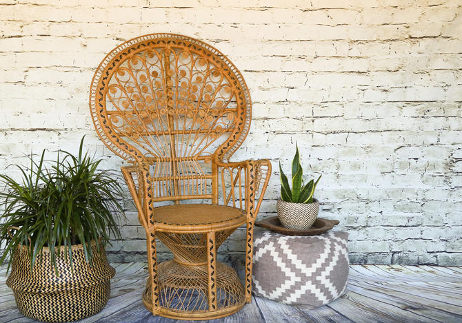 SHIPPING NOT FREE!!! Vintage Ornate Peacock Chair by WorldofWicker