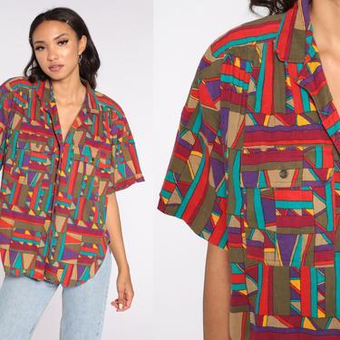 Bright Geometric Shirt 80s Lizsport Shirt Button Up Blouse 90s Tropical Aztec Print Vintage Short Sleeve Liz Claiborne Oversize Medium by ShopExile