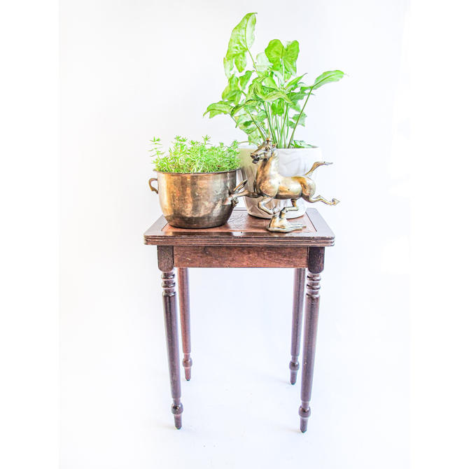 Small Solid Wood Table with Brown Leather Accenting by PortlandRevibe