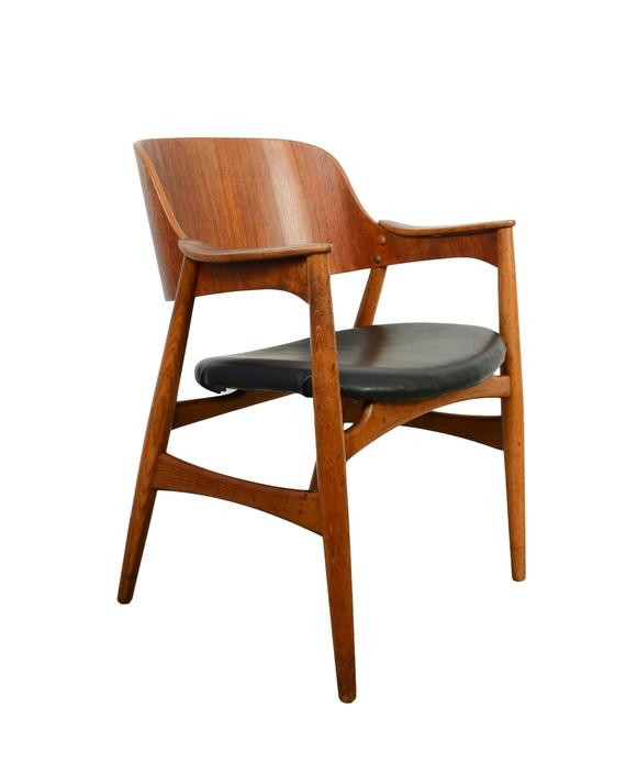 Teak Arm Chair Black Leather Danish Modern by HearthsideHome