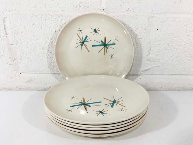 True Vintage Salem North Star Set of Six Large Dinner Plates Hopscotch Mid Century Atomic Aqua Blue Atomic China MCM Mad Men Serving Plate by CheckEngineVintage