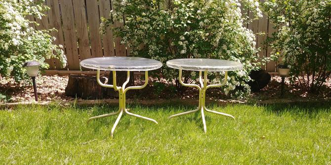 Pair of Vintage Lucite Plastic and Metal Side Patio Tables by RedsRustyRelics