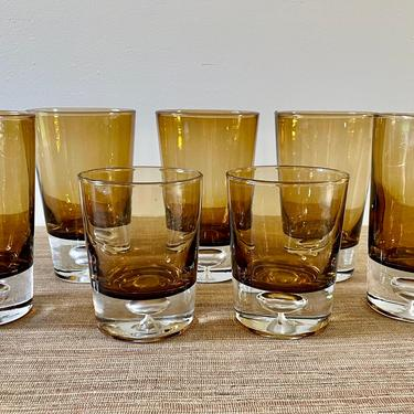 Vintage Glassware - Brown Two Tone Drinking Glasses - Water Glasses - Double Old Fashioned Bar Glasses - Fall Glassware by SoulfulVintage