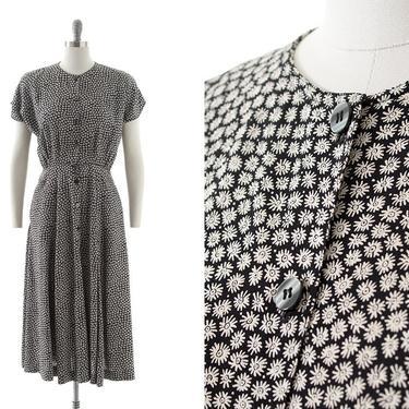 Vintage 1980s 1990s Shirtwaist Dress   80s 90s Ditsy Floral Printed Grunge Rayon Black Button Down Midi Dress with Pockets (medium) by BirthdayLifeVintage