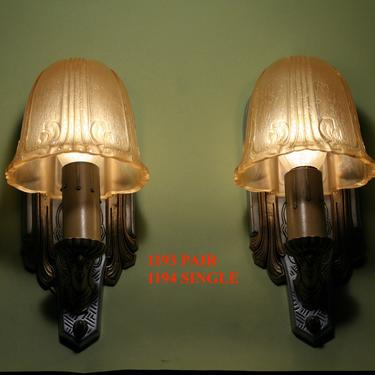 Pair Art Deco Sconce with Amber Shades by Riddle  #1193 by vintagefilament