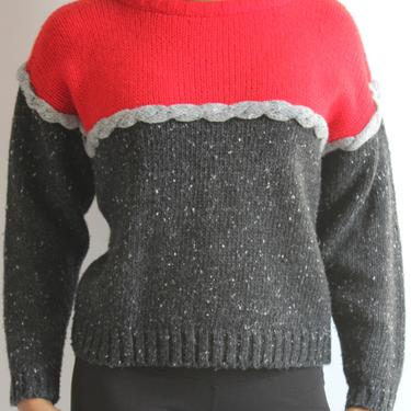 Wool Blend Vintage Ski Sweater Red and Grey 1980's fits XS- M by BeggarsBanquet