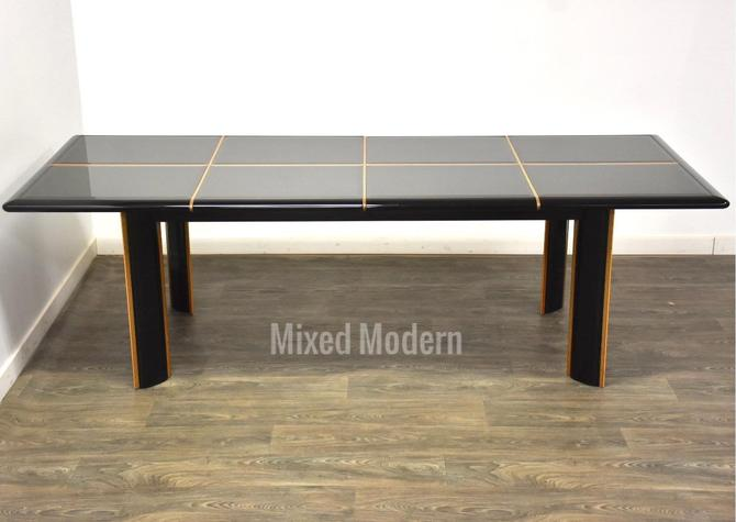 Pierre Cardin Roche Bobois Black Lacquer Dining Table by mixedmodern1