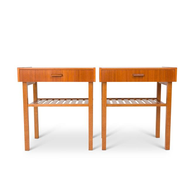 Vintage Danish Mid-Century Teak Bedside Tables with Slatted Shelf by MCMSanFrancisco