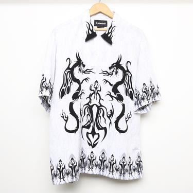 vintage FLAMES men's silky button down DRAGON shirt BLACK, white & silver y2k 90s short sleeve shirt -- size medium by CairoVintage