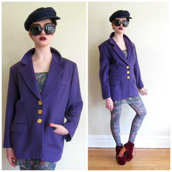8efb394e98f 1990s Yves Saint Laurent Blazer / 90s Designer Jacket in Purple Wool /  Ultraviolet YSL Jacket
