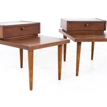 Merton Gershun for American of Martinsville Mid Century X Inlaid Walnut Side End Table - A Pair by ModernHill