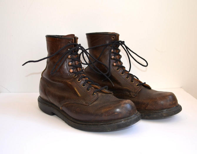 7f43bae0fb129 Vintage Red Wing Boots/ Dark Brown Leather Work Boots/ Made In USA 453/  Size 9 by bottleofbread