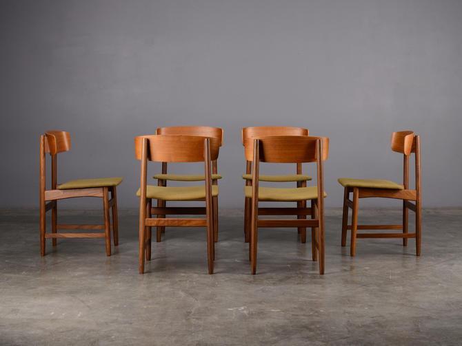 Set of 6 Mid Century Dining Chairs Danish Modern Teak by MadsenModern