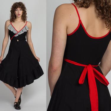 70s Culotte Leg Wrap Jumpsuit - Petite XS   Vintage Black White & Red Ruffle Sleeveless Pantsuit by FlyingAppleVintage