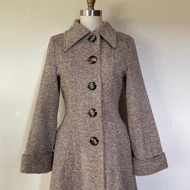 1970s tweed princess coat by VelvetGoldmineShop