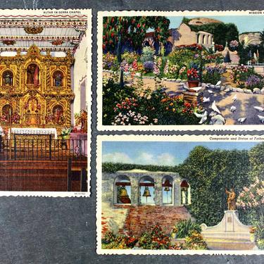 Stunning Mission San Juan Capistrano California Vintage Postcards - 1940s - Set of 3 - Unused Linen Postcards |  FREE SHIPPING by Bixley