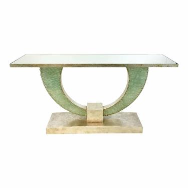Currey & Co. Modern Green Sea Glass Console Table Prototype