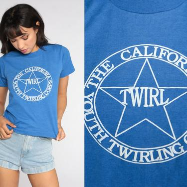 Baton Twirling T Shirt The Youth Twirling Corp Shirt California TShirt 80s Vintage Graphic Tee 1980s Single Stitch Shirt Extra Small xs by ShopExile