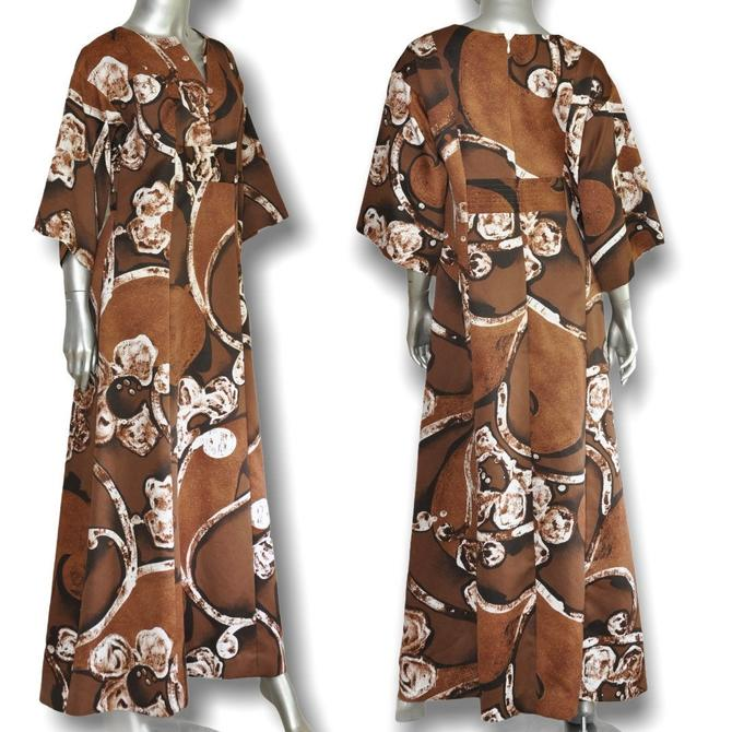 Vintage Tori Richard Honolulu Empire Waist Dress Brown and White Floral Print Loungewear by TheUnapologeticSoul