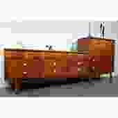 Outstanding Walnut Brass MCM Dressers Bedroom Set