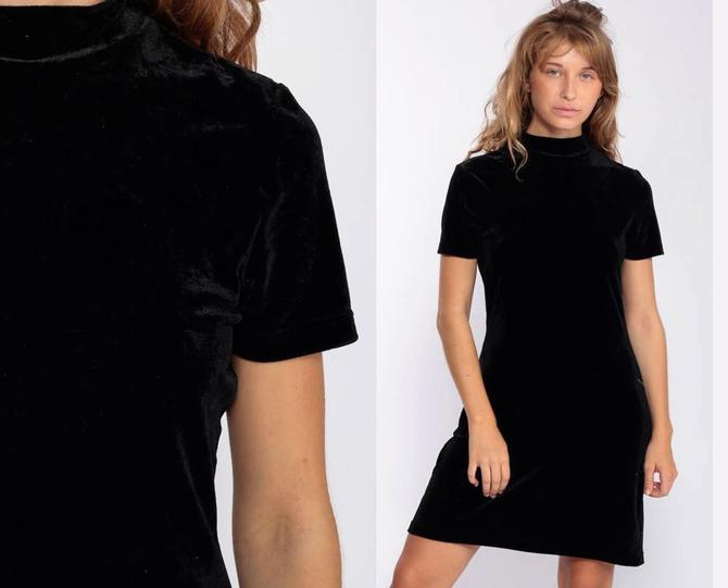 85a9af266dde Velvet Mini Dress 90s Black Party Mini Short Sleeve Shift Sheath Grunge  Cocktail High Neck Vintage
