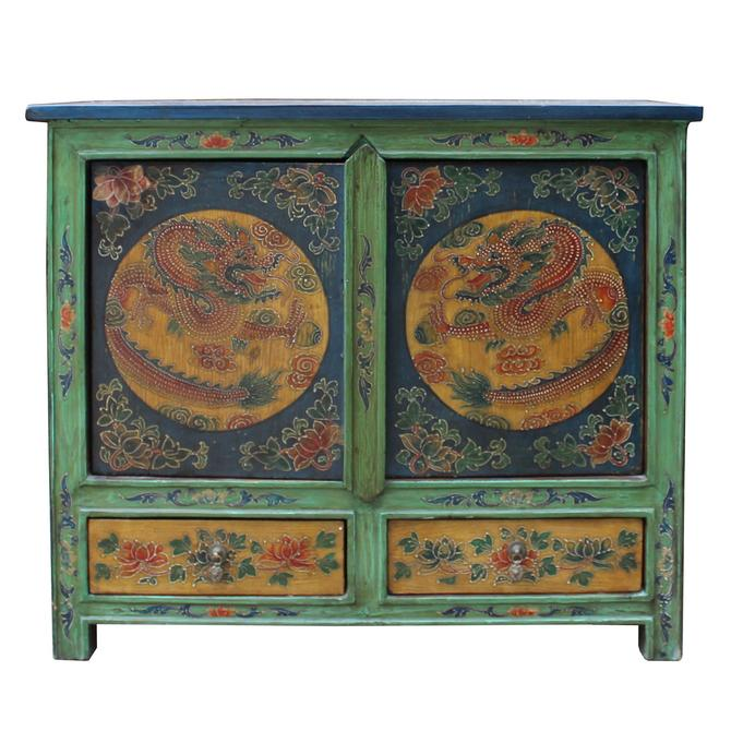 Chinese Multi-color Tibetan Dragons Motif Small Table Cabinet cs5004S