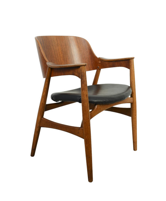 Teak Arm Chair Black Leather Danish Modern by HearthsideHome