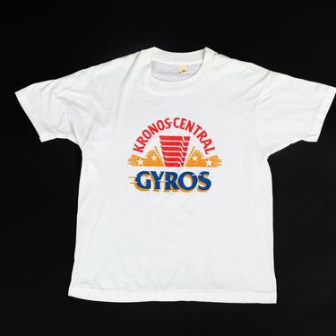 80s Kronos-Central Gyros T Shirt - Men's Medium, Women's Large | Vintage White Greek Chicago Restaurant Graphic Travel Tee by FlyingAppleVintage