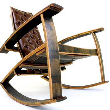 Recurved Leather Rocker - Bourbon Barrel Rocking Chair by HungarianWorkshop