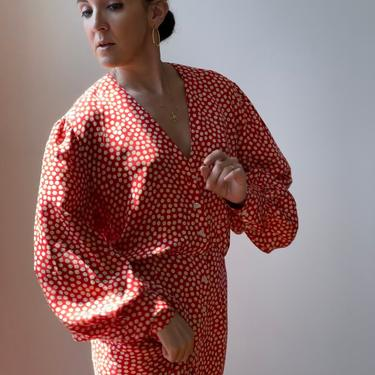 Vintage Silk Red Polka Dot Dress by ShopLaTierra