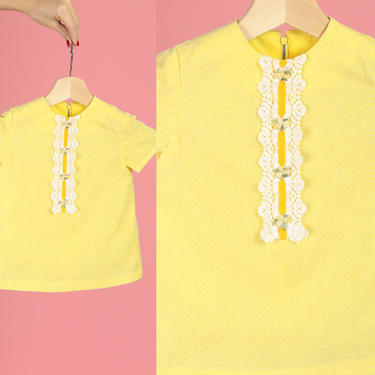 60s Swiss Dot Yellow Toddler Dress - 2T   Vintage Floral Lace Short Sleeve Kids Dress by FlyingAppleVintage