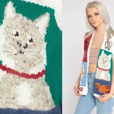 90s Cat Vest Vest 90s Sweater Vest 1990s Mom Vest Color Block Animal Vest Vintage Novelty Print Button Up Ramie Cotton Medium by ShopExile